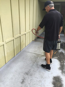 ASAP Pest Control expert spraying perimeter of home.